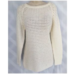 N Y Collection White Cable-Knit Tunic Sweater Sz L